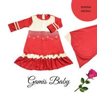 Baju Gamis Bayi Perempuan Set Hijab | Gamis Baby Perempuan Imut - Merah, S