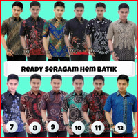 Hem Batik-Baju Batik Pria Slimfit BIG SIZE M L XL XXL lengan pendek
