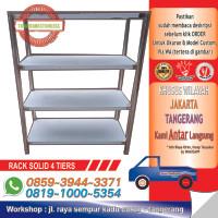 SS Rack 4 Tiers Solid Shelf / Rak 4 Susun Stainless Steel