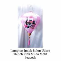 Lampion Imlek Balon Udara Pink Muda 16inch Motif Peacock