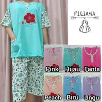 Setelan baju tidur piyama wanita 3/4 Jumbo/ XXL- motif bunga merah