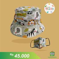 Topi Bucket Anak/Topi Face Shield Anak/Topi Bucket Masker Motif Gajah - 1