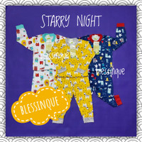 PIYAMA Fullprint Velvet Junior BIG SIZE 2-10 Tahun Starry Night