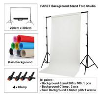Paket 2x3m Background stand backdrop kain putih spunbound