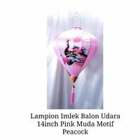 Lampion Imlek Balon Udara Pink Muda 14in Motif Pink Peacock