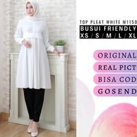 Atasan muslim wanita warna putih busui friendly ld 110cm Pleat M1150