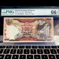 Uang Kuno 5000 Rupiah 1975 dengan sertifikat PMG 66 EPQ