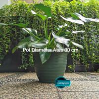Pot tanaman bunga motif tawon Diameter 30 cm warna hijau lumut