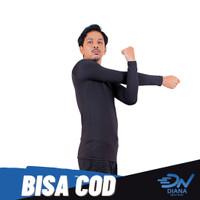 Baju olahraga manset baselayer pria lengan panjang warna hitam - L