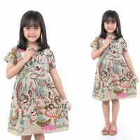 Dress Batik Anak Lengan Pendek Motif Merak | Baju Dress Anak Terbaru