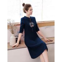 Cheongsam dress wanita katun import navy lengan panjang