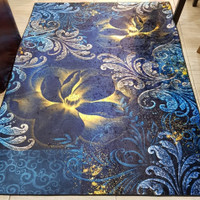 NEW Karpet Lantai 3Dimensi Shiny Wool Gold Emas Biru Flor