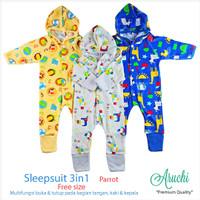 ARUCHI 3pcs Sleepwear 3in1 Baju Kodok Topi FreeSize (NB)