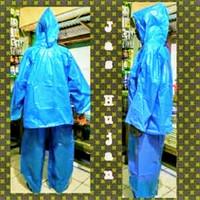 Bambu jas hujan plastik setelan cap bambu model poncho/ponco - Biru Atau Hijau