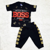 COD Baju Kaos Setelan Anak laki-laki usia pakai 0-5 tahun, Set Baju - Hitam, 1-2 tahun