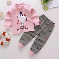 baju tidur setelan anak piyama kucing pink