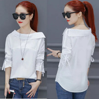 Fashion Baju Atasan Blouse Korean Style Casual Wanita Korea Kekinian - Putih, L