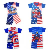 setelan pendek anak laki-laki captain america/ baju anak cowok