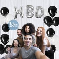 Paket Dekorasi Ulang Tahun Happy Birthday Tema Hitam Putih Set
