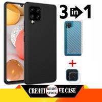Soft Case Samsung Galaxy A12 Plus Skin Carbon Film+Tg Camera Lens