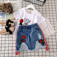 Setelan baju anak cewek import murah - set baju kaos rok mini jeans