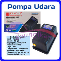 Pompa Udara Aerator Aquarium Single 1 Lubang outlet KANDILA KD Q3 Q 3