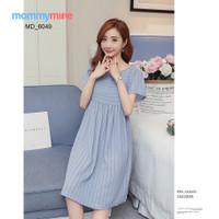 Mommymine Dress Hamil / Setelan Hamil Impor (MD_6049) - Biru Muda, M