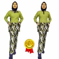 baju senam wanita setelan hijau army bahan denim spandex katun