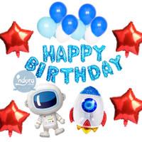 Paket Dekorasi Ulang Tahun Happy Birthday Tema Astronot Astronaut SET