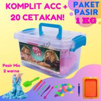 Paket Pasir Ajaib Play sand Set 1 KG CETAKAN banyak Free Tatakan - Biru
