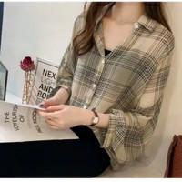 Guilen Oversize Shirt kemeja wanita motif kotak fanel wanita fashion