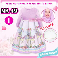 Baju Gamis Muslim Anak cw/perempuan Motif Unicorn Ungu Set Mardi Amber