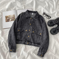 baju luaran wanita jaket jeans Crop jaket denim big Size Cb