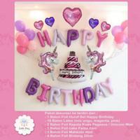 Paket Dekorasi Balon Ulang Tahun/ Happy Birthday Tema UNICORN 03