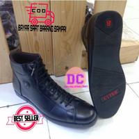 Sepatu Pria Boots Pantofel semi pantofel kulit asli BALLY-2002 Hitam - Hitam, 38