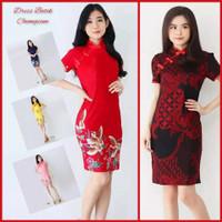 Cheongsam Dress Wanita Batik Baju Imlek Terbaru Pakaian Pesta Modern