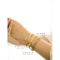 Dear Me - Vivian Bangle (Titanium 18K Gold Plating) Gelang Wanita - Silver