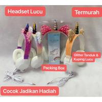 HGM-017 Headset Bando Unicorn Karakter / Headphone Kabel Kids Cartoon
