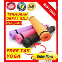 TERMURAH Matras Yoga Mat Yoga Anti Slip Karet KUALITAS Lembut Free TAS - 180cm x 60cm, Hitam