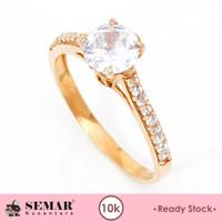 Cincin Emas List Ring Solitaire Batu Putih Semar Nusantara Rs