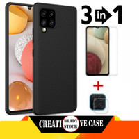 Soft Case Samsung Galaxy A12 Plus Tempered Glass Clear+Tg Camera Lens