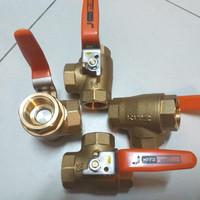 Ball valve 3way kuningan Kitz drat 3/4 Stop kran Kitz 3 arah
