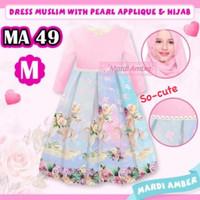 Baju Gamis Muslim Anak Cw/perempuan Motif Unicorn Pink Set Mardi Amber