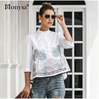 Fashion Baju Atasan Blouse Wanita Bordir bahan Katun Bangkok Import