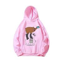 Hoodie Anak Perempuan 6-10 Tahun Bare Bears Pink / Baju Sweater Hoodie