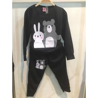 Chang Fashion Setelan Lengan Panjang Rabbit Dan Bear Usia 2-10 Tahun - Hitam, 2 tahun