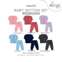 Ardenleon Long Baby Button Set Arden Leon Baju Setelan Panjang Bayi