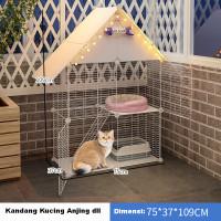 Kandang Kucing Kelinci Pagar Plus Atap Model Rumah Dua Lantai