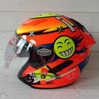 Helm Halfface Shell Rover Motif 808 Orange Fluo Original