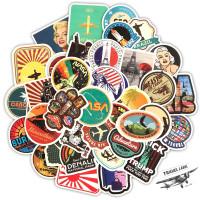 Stiker Koper 1 set isi 50 Pcs : Vintage Retro World Traveling Rimowa